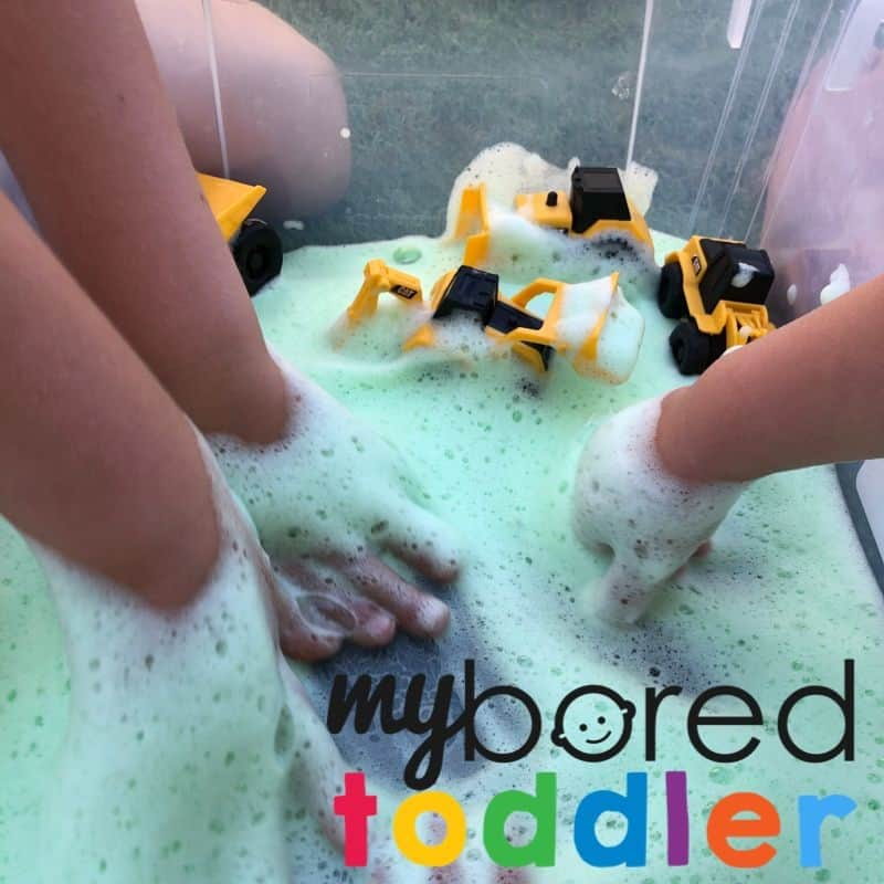 soap foam & construction trucks sensory play small world