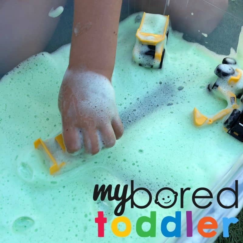 soap foam sensory play with trucks