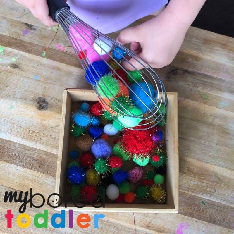 pom pom whisk toddler activity fine motor skills 3