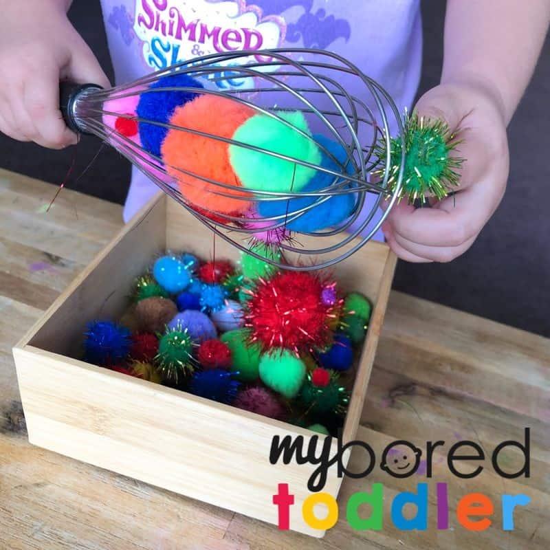 pom pom whisk toddler activity fine motor skills 4