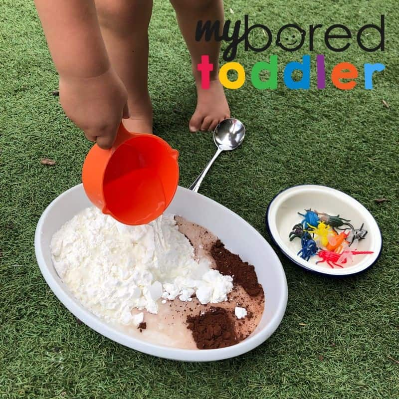 Bugs in mud sensory messy play idea for toddlers