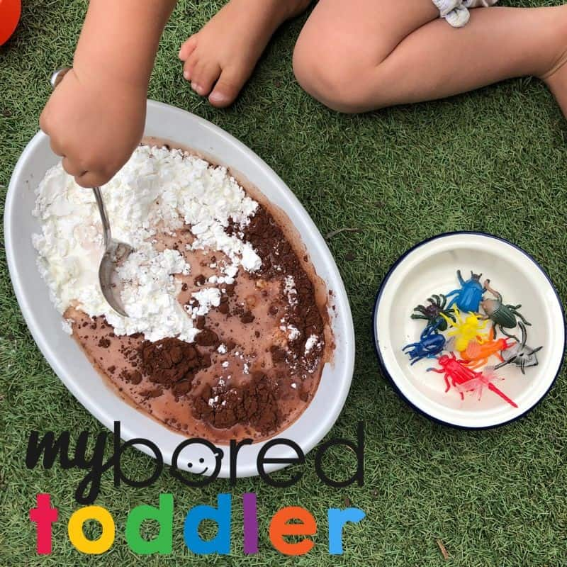 Bugs in mud messy sensory bin idea for toddlers