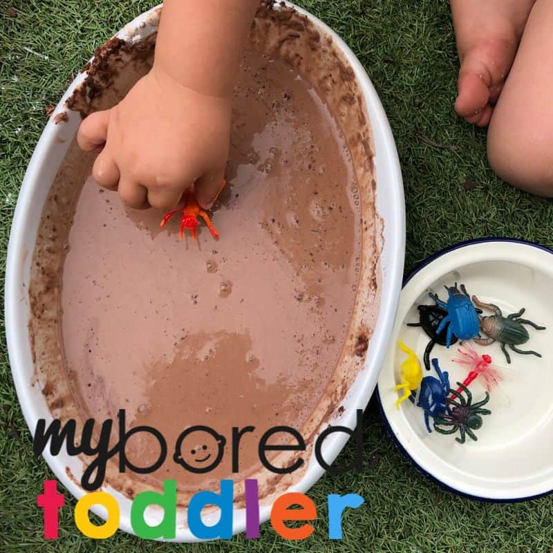 Messy muddy play ideas for oobleck bugs in mud toddler activity