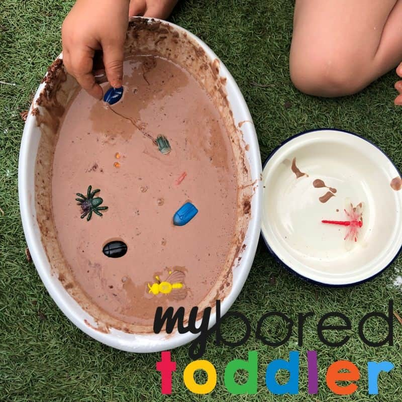 muddy bugs messy play activity idea for toddler mud oobleck