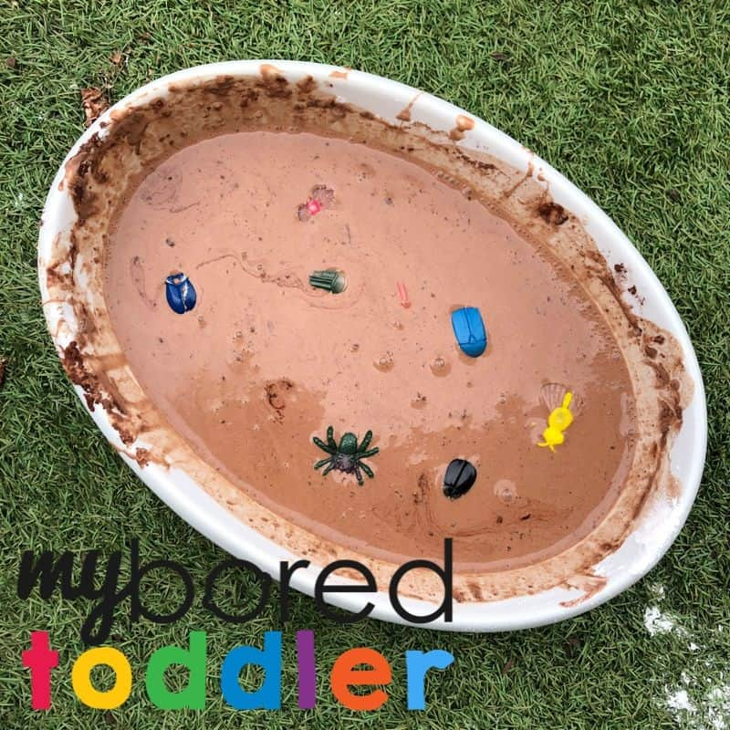 Bugs in mud play idea for toddler