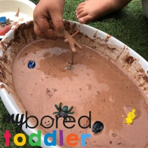 Bugs in mud small world play messy play idea for toddlers
