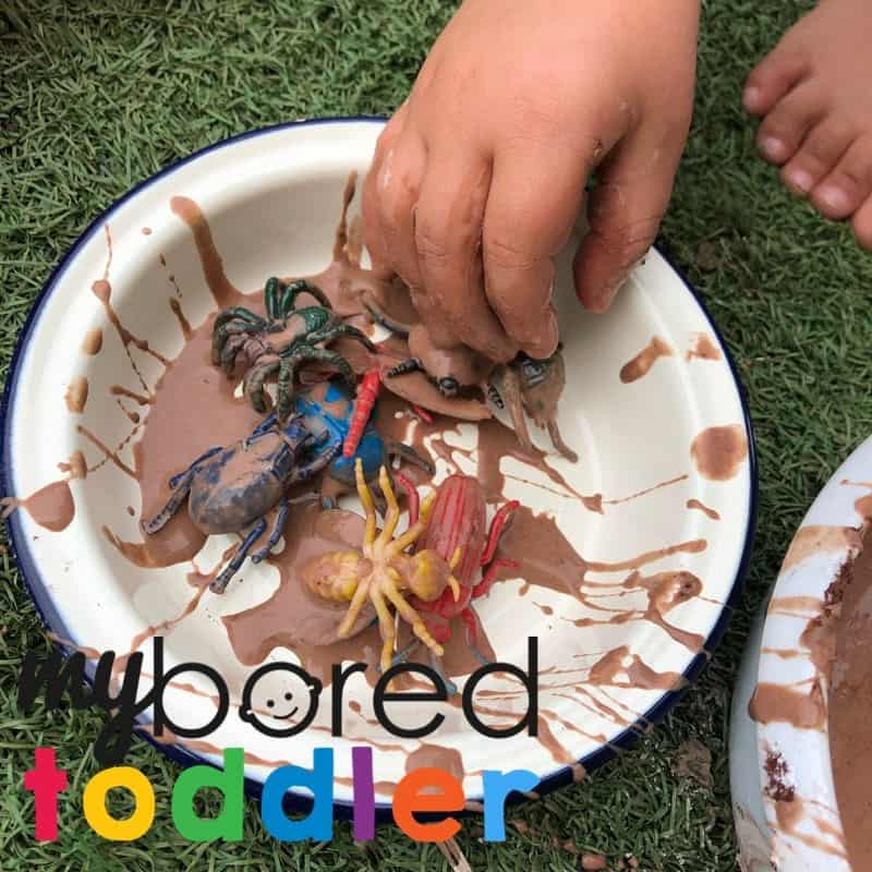 bugs in mud messy play idea for toddlers to do at home