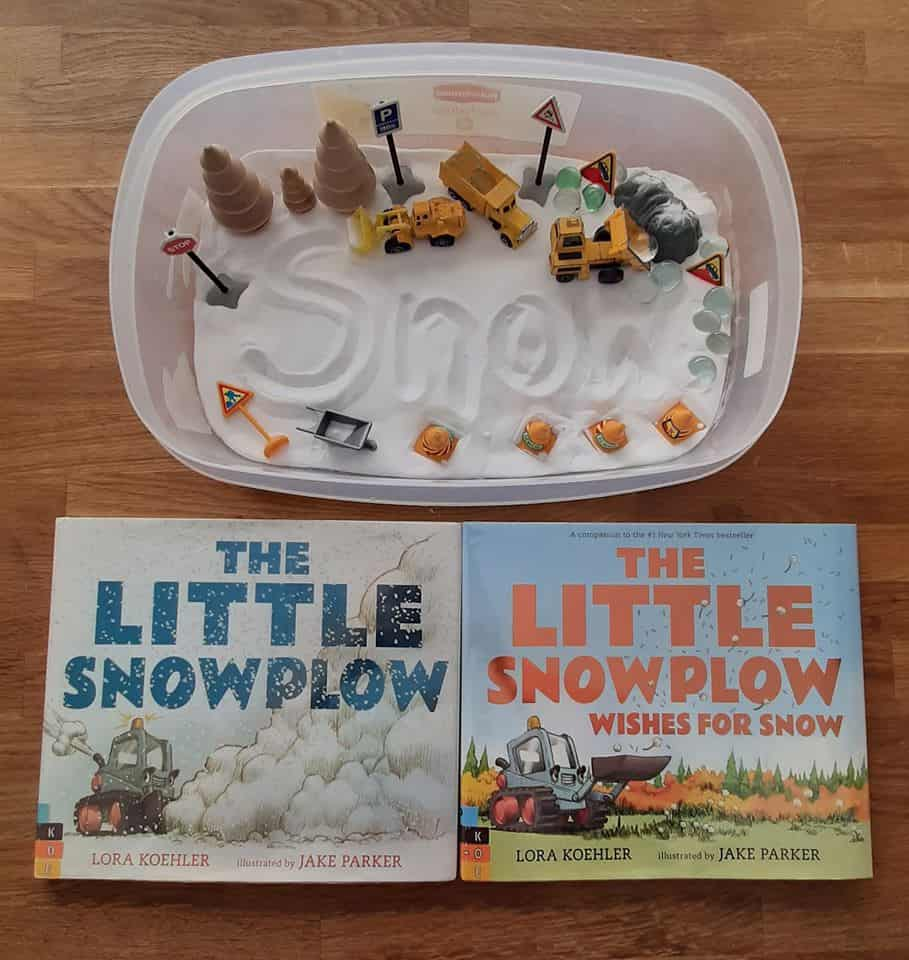 snow dogh and trucks sensory bin ideas for toddlers