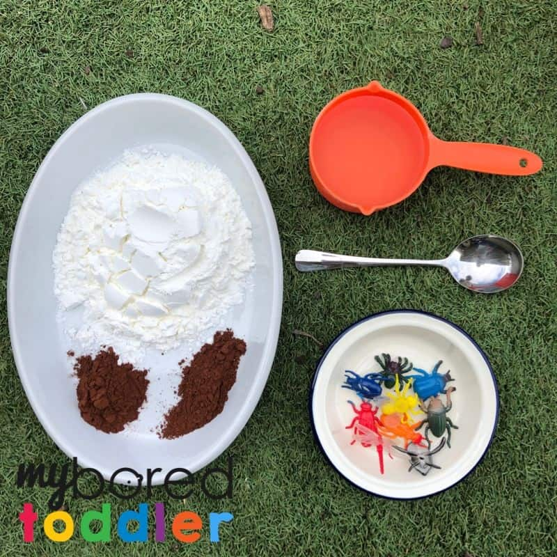 Bugs in mud small world messy play idea for toddlers what you need