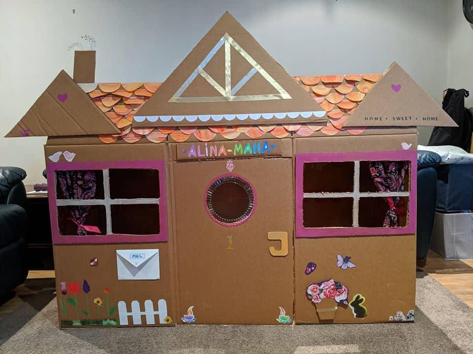 gingerbread house cardobard box creation