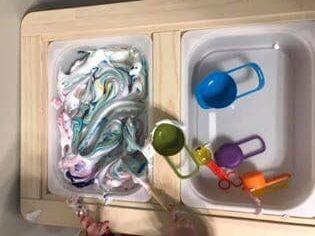 shaving cream sensory bin