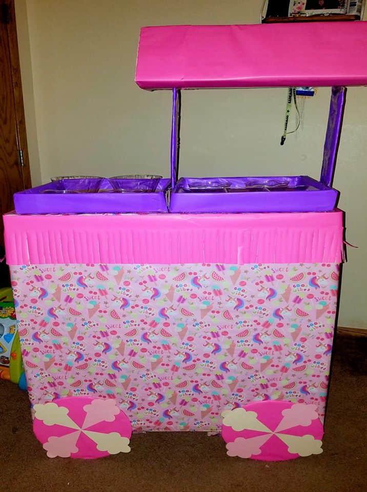 cardboard box ice cream stand
