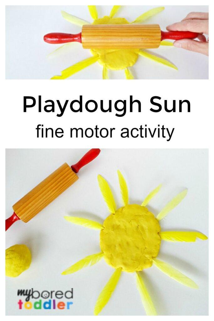 Playdough Sun Fine Motor Activity for Toddlers