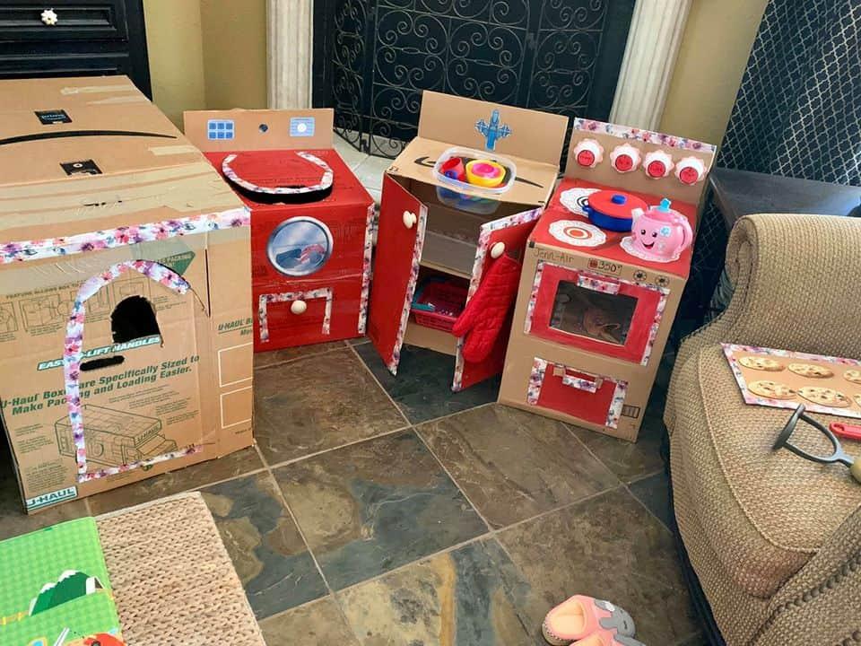 cardboard box stove washer and dryer