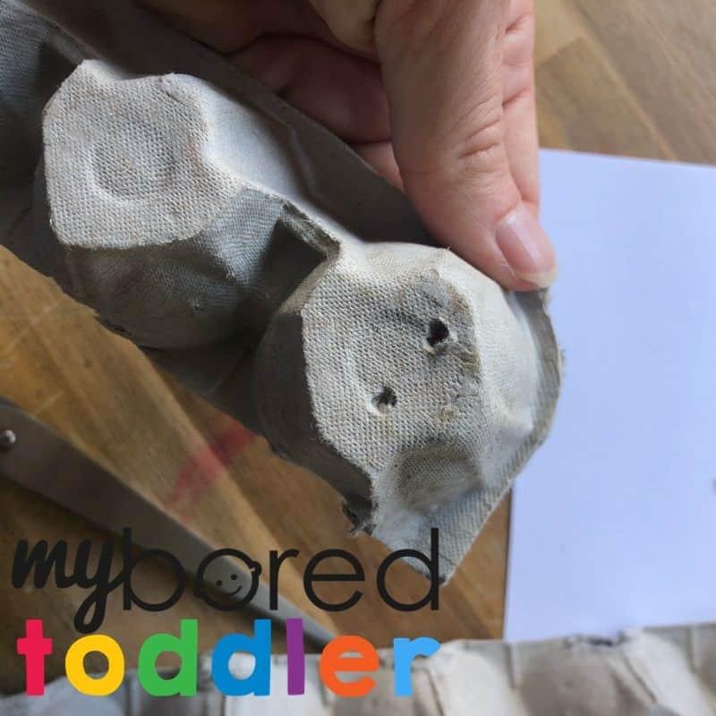 egg carton caterpillar toddler craft step 2