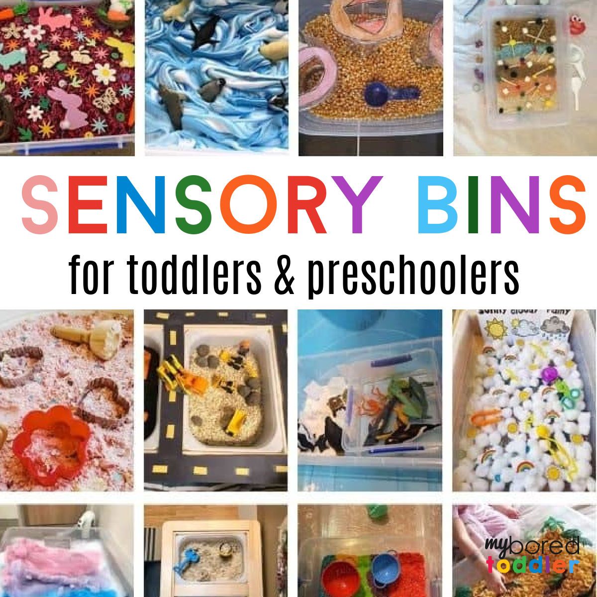 Sensory Bin Ideas for 1, 2 & 3 year olds