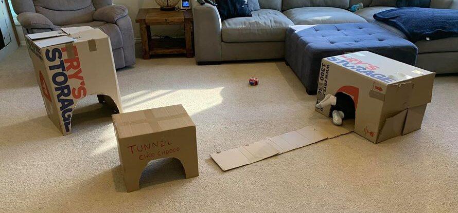 train tunnel cardboard box