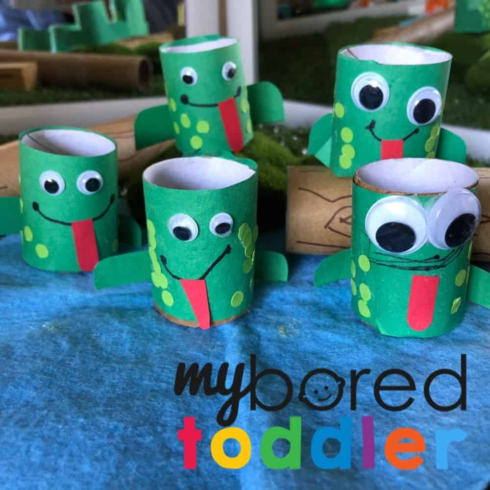 Speckled Toilet Roll Frog Puppets