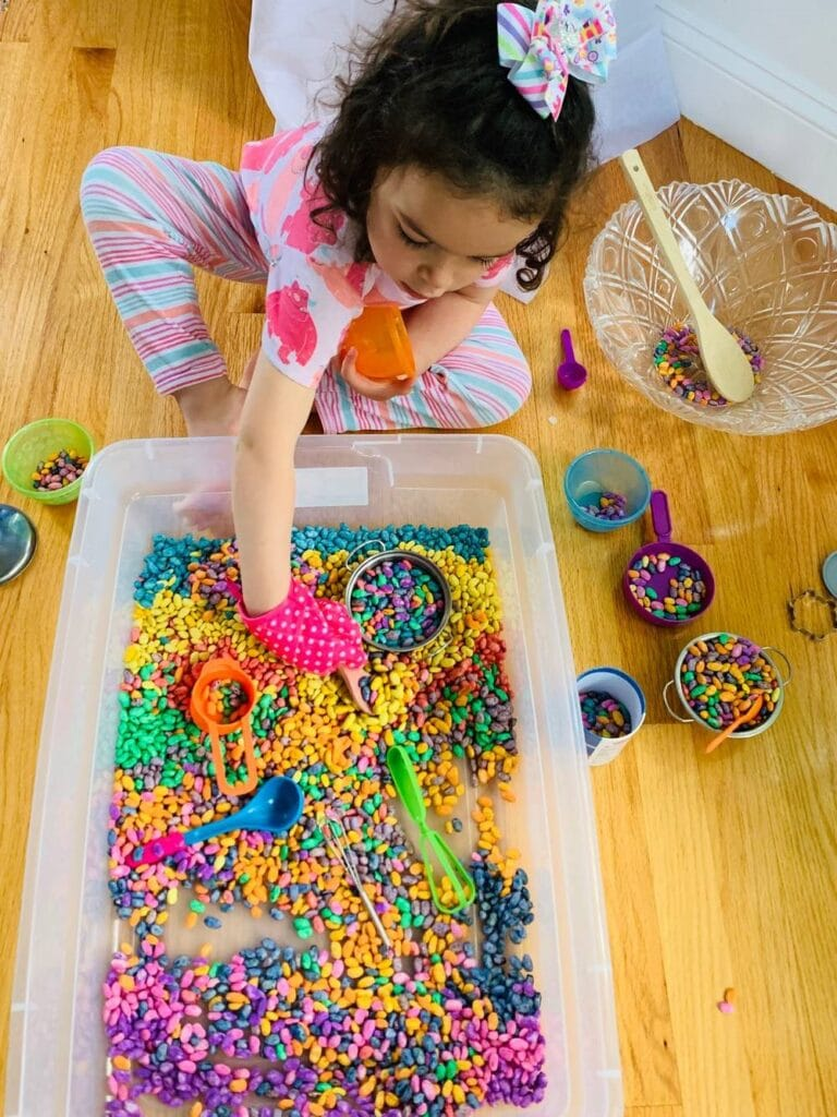 Playing with the magic bean soup - colored bean sensory bin for toddlers and preschoolers