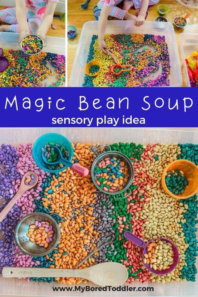 colored beans sensory bin idea pinterest 2