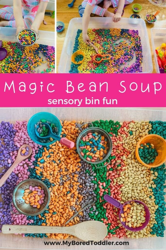 magic bean soup sensory bin for toddlers and preschoolers pinterest