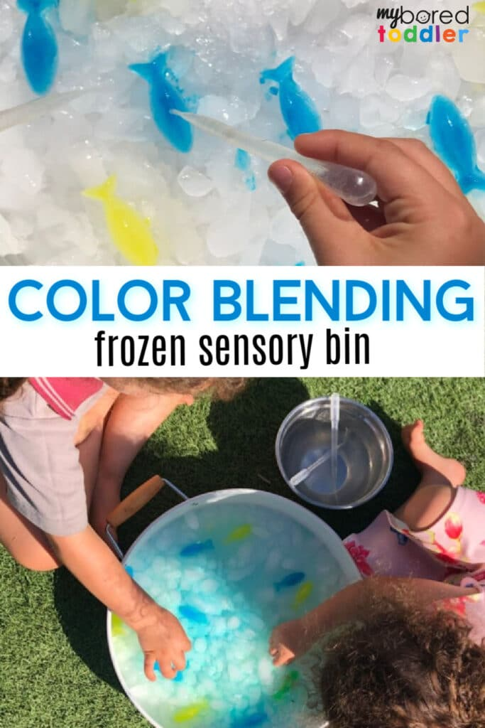 color blending frozen sensory bin