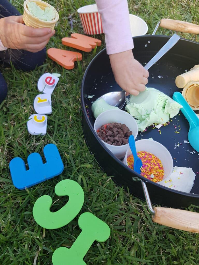 ice cream dough edible sensory bin for toddlers preschoolers