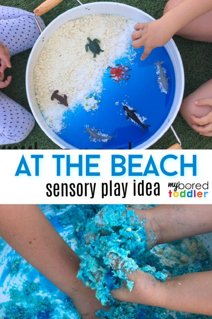 at the beach sensory bin idea for toddlers summer