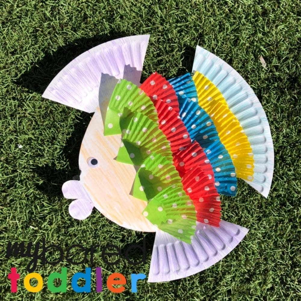 paper plate fish craft for 2 year old