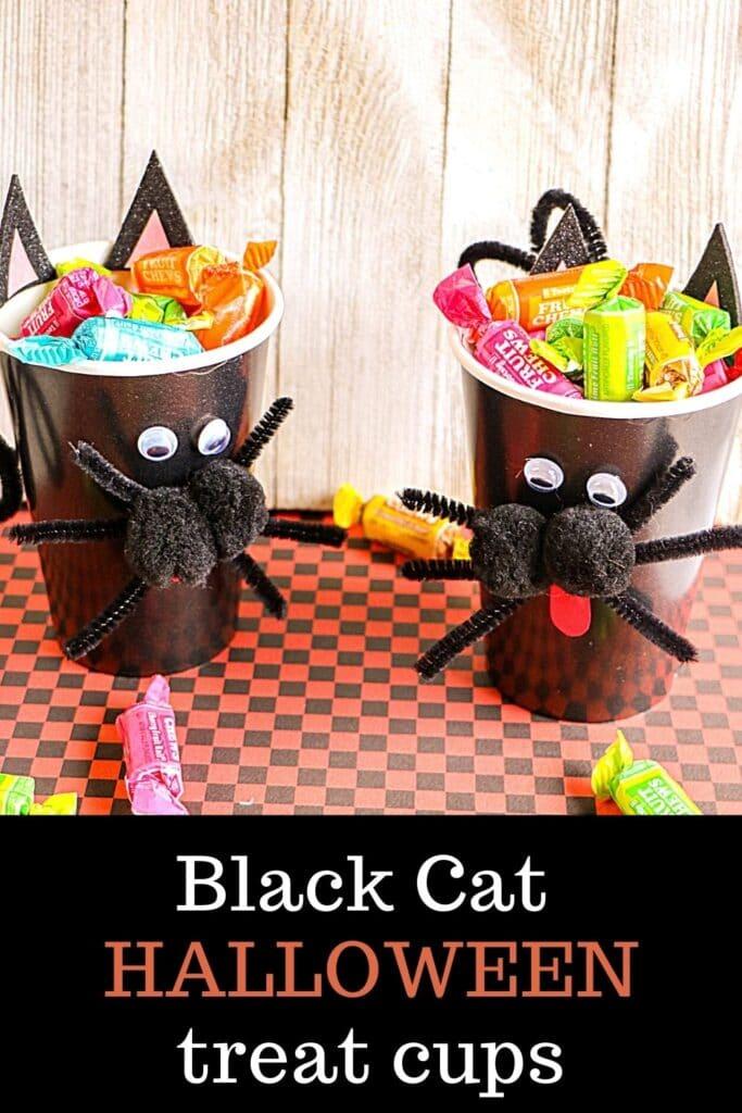 black cat treat cups for Halloween kids craft
