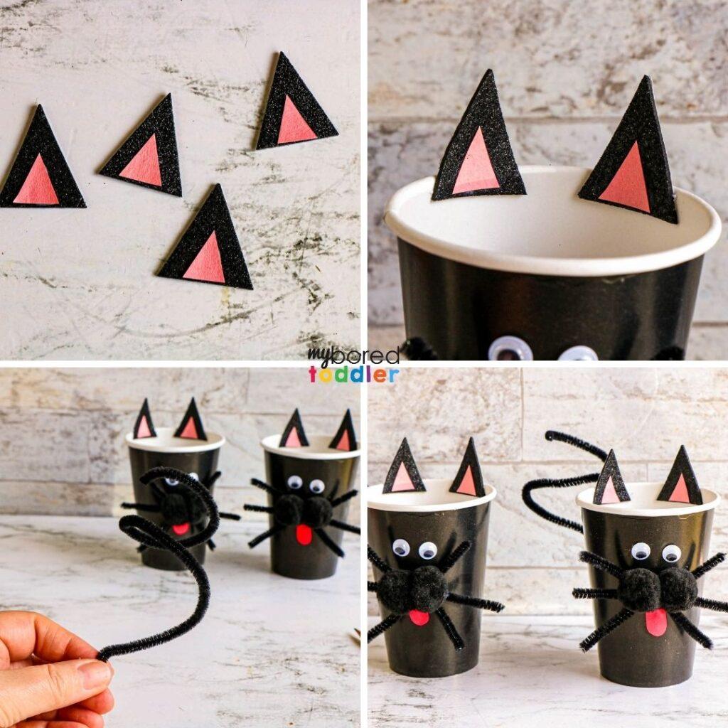 Halloween black cat treat cups for kids at Halloween