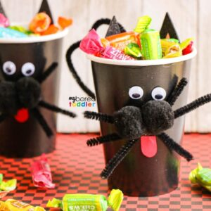 Black cat Halloween treat cup