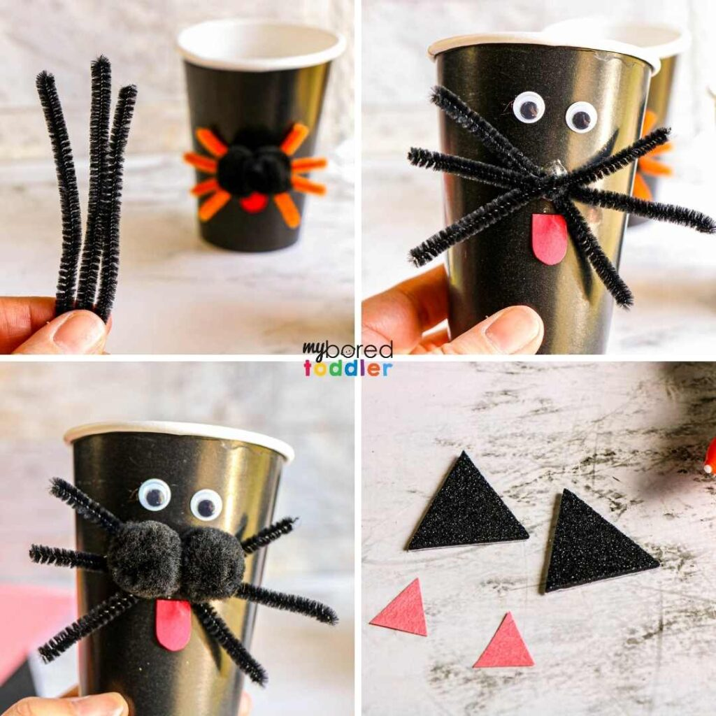 how to make black cat treat cups for Halloween 1