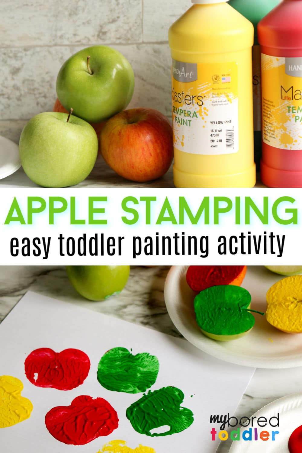 apple stamping fall activity painting for toddlers