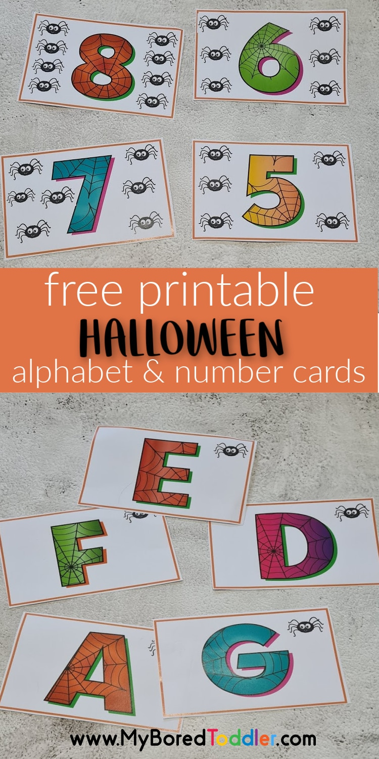 free printable Halloween alphabet and number cards pinterest
