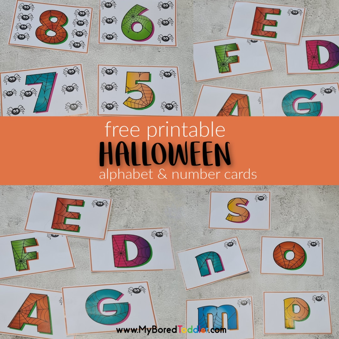 free printable halloween alphabet and number flashcards square
