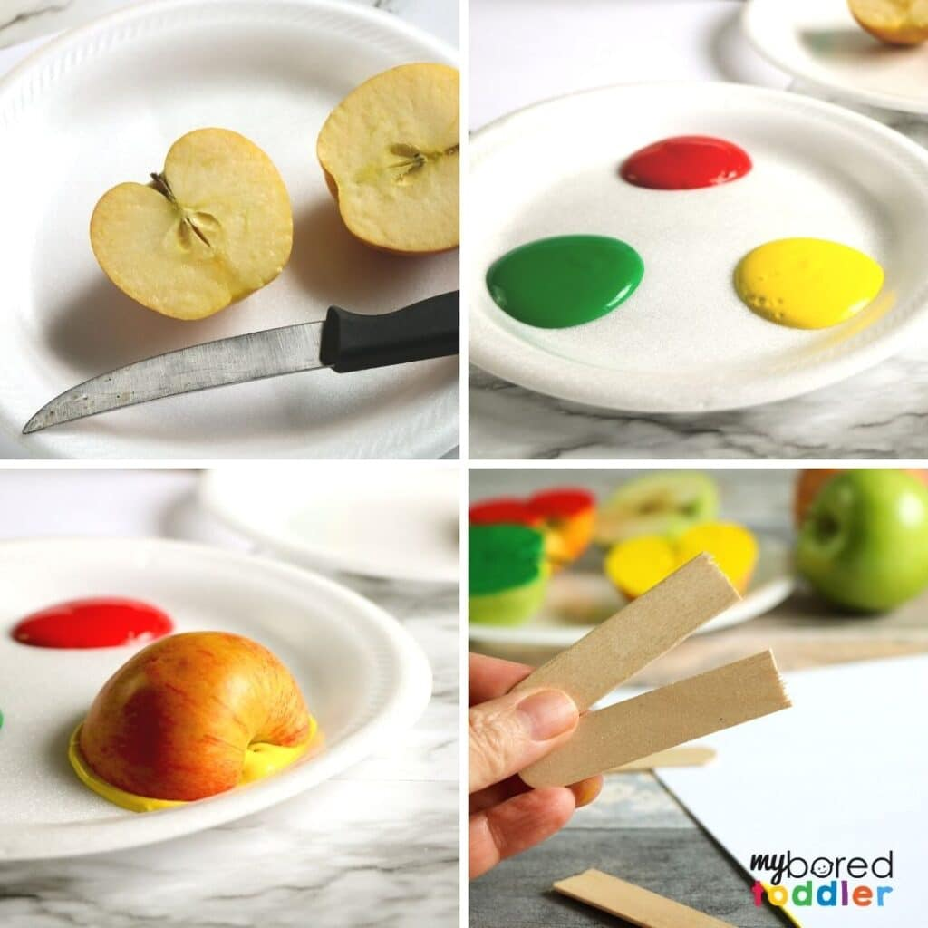 how to do apple stamping a fun fall activity for toddlers