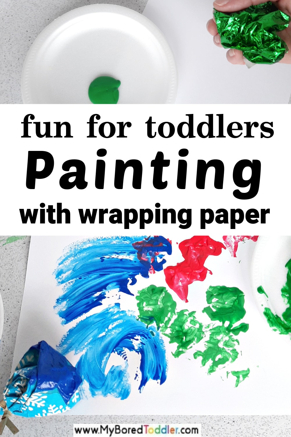 Painting with Recycled Wrapping Paper