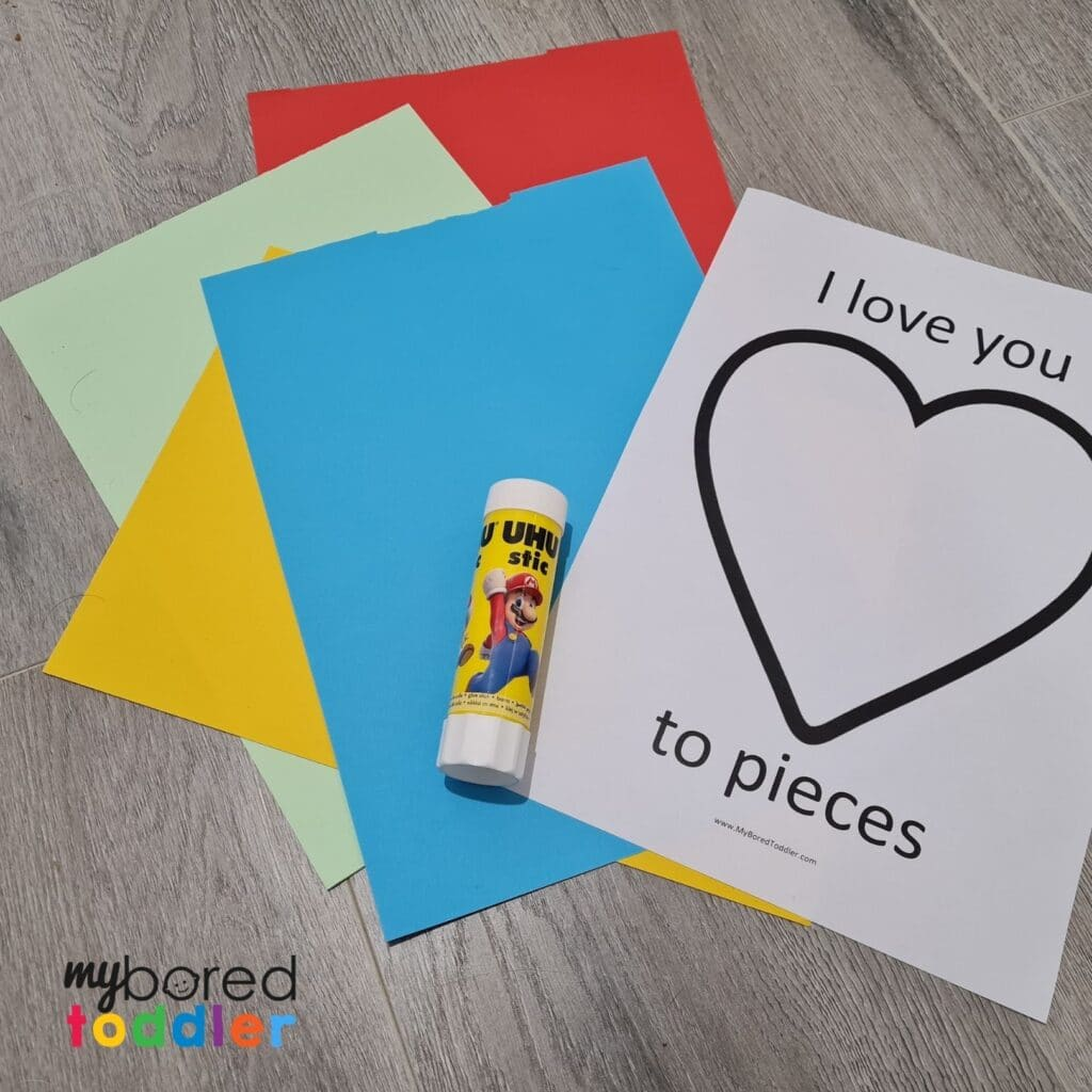 I love you to pieces valentine's day craft toddlers template what you need
