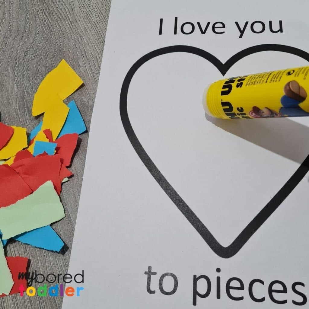 Valentine's day craft I love you to pieces glue
