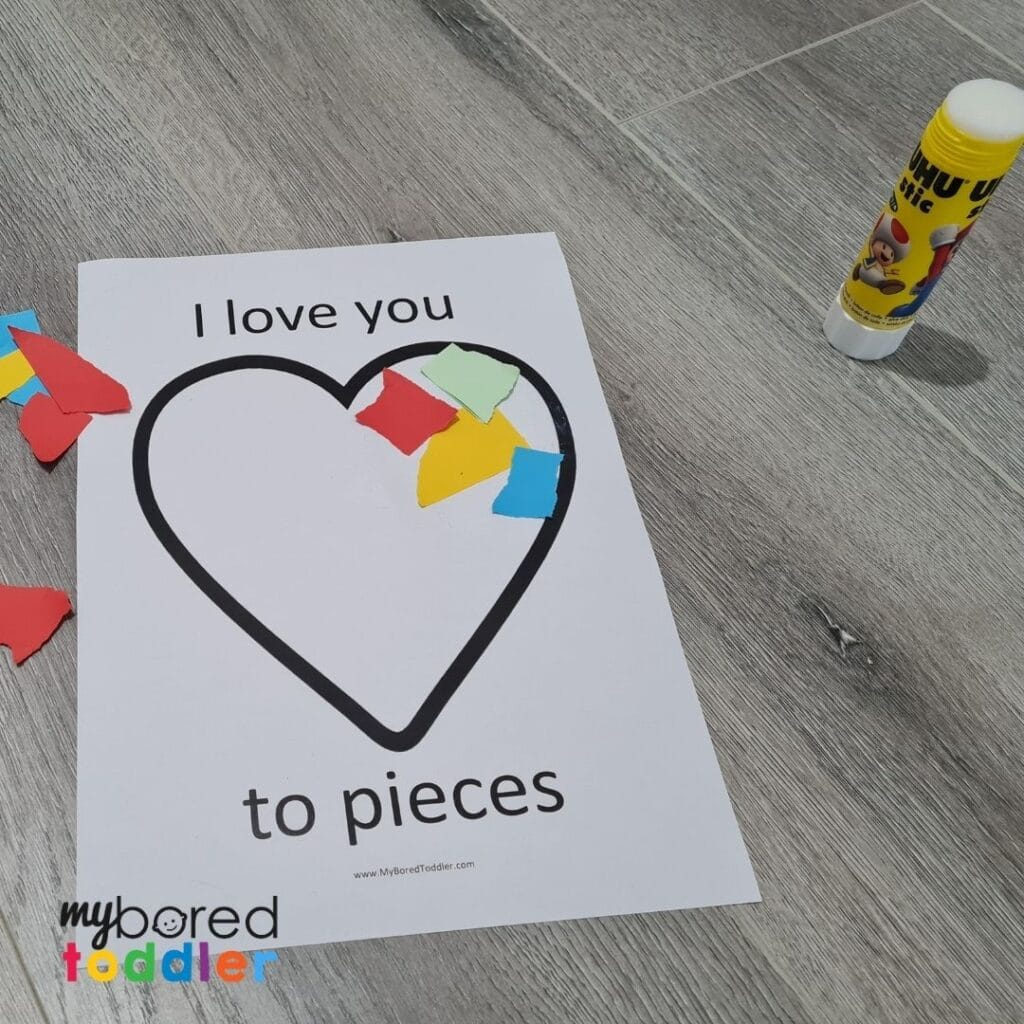 i love you to pieces printable template for toddlers valentines day