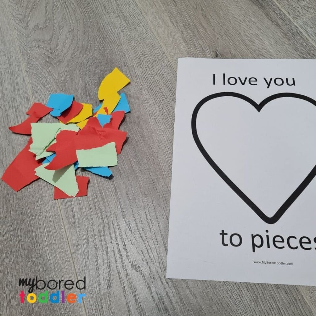 i love you to pieces valentine's day template step 2 toddler craft