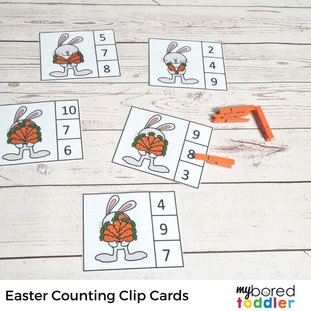 easter counting clip cards