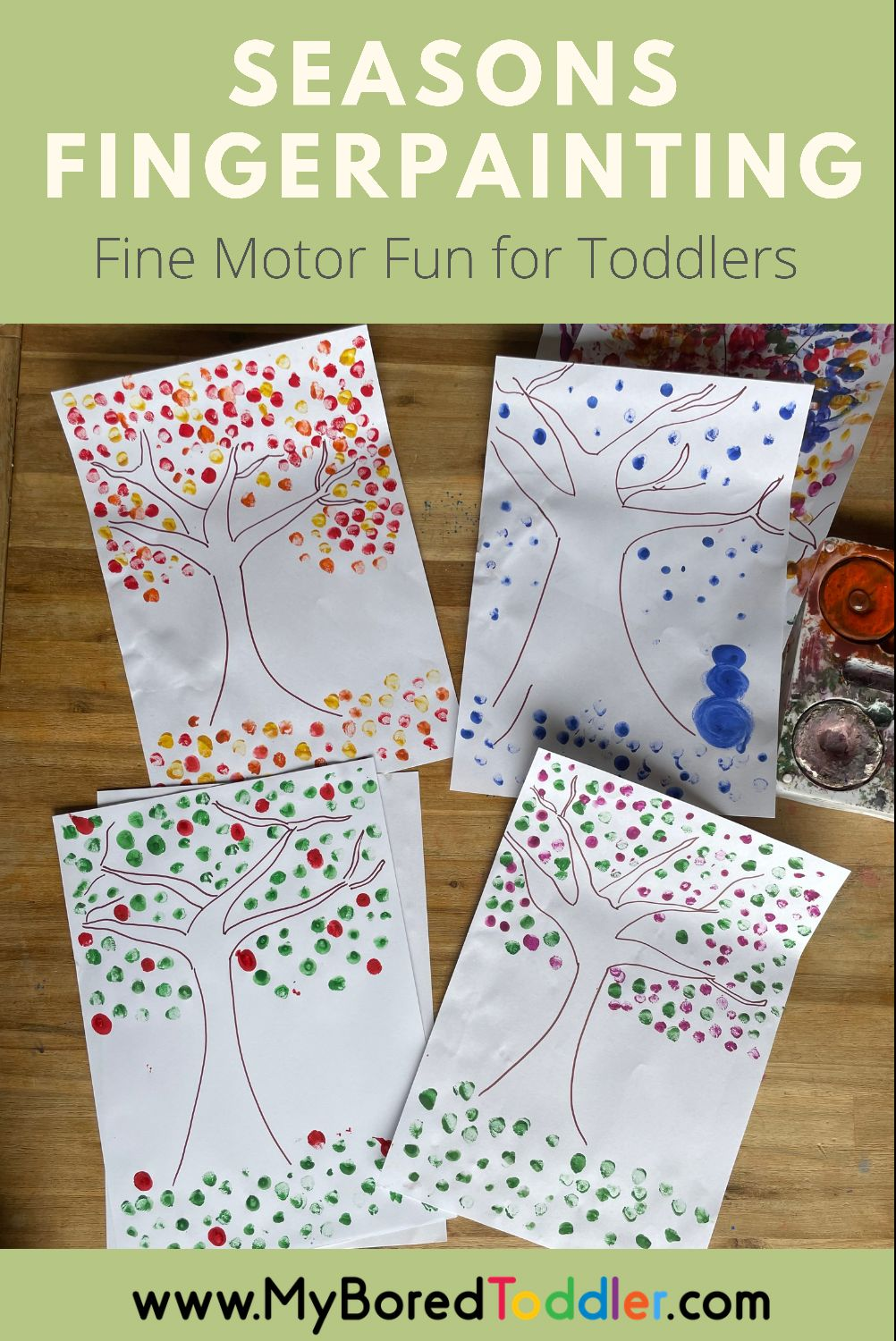 Seasons finger painting activity for toddlers